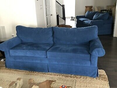 Ethan Allen Roll Arm Benson Sofa Couch  Blue