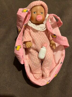 Zapf Creation Baby Born Miniworld Doll + Carry Bed And Accessories