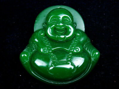 Gorgeous Green Jade Carved Big Belly Laughing Buddha Pendant #11201901