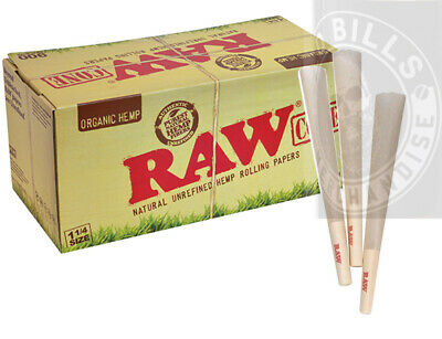 100 Pack - RAW Organic Hemp 1 1/4 Cones Authentic Pre-Rolled Cones w/ Filter