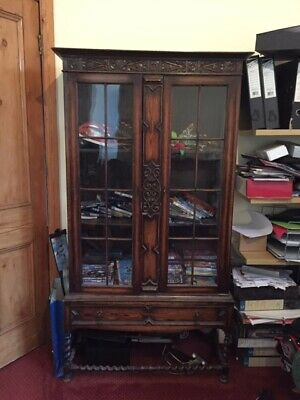 Victorian Carved Oak Bookcase Trophy Display Cabinet