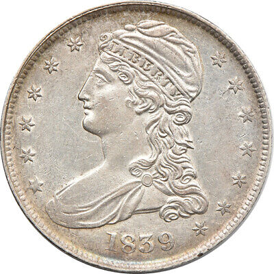 1839 Capped Bust Half Dollar AU Cleaned, 50c C00047164