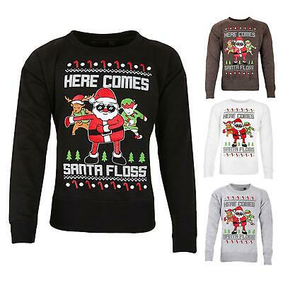 Boys Girls Santa Floss Fleece Sweatshirt Kids Retro Vintage Novelty Jumper Tops