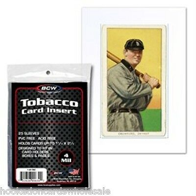 1 pack of 25 BCW Tobacco Card Insert Sleeves 4 mil - fit 9 pocket pages & boxes