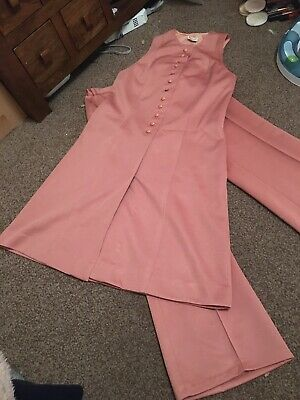 Original 1960s Pink Salmon St Michael Pant Suit Flared Trouser Set 2 Piece