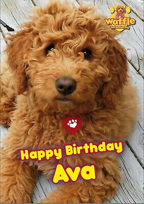 Personalised Waffle The Wonder Dog Name And Age Birthday Card A5