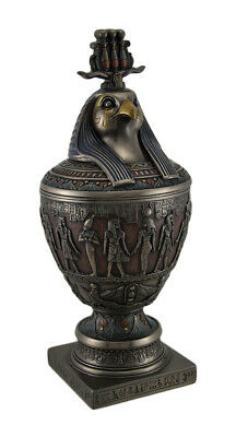 Decorative Egyptian Canopic Jar w/Horus Wearing Triple Atef Crown Lid