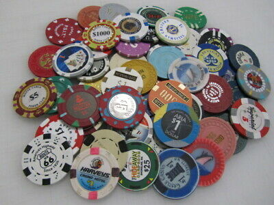 55 Casino Gaming Poker Chip Lot Las Vegas $1 New & Used Chipco Paulson Clay