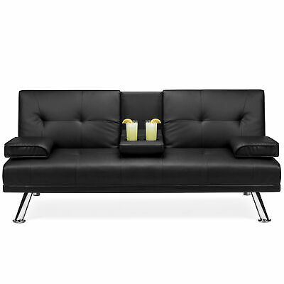 BCP Faux Leather Convertible Futon w/ 2 Cup Holders