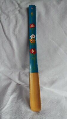 Long Handled Vintage Hand painted Shoe Horn - Bamboo wood - very strong.