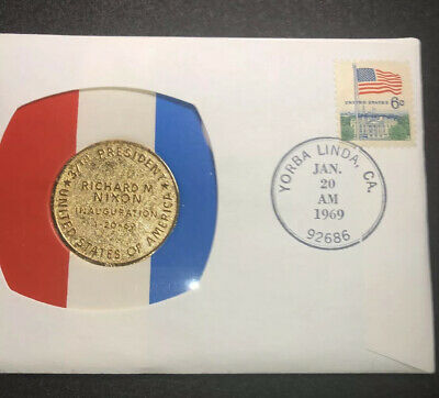 Unc. 1969 Nixon Inaugural Cover, Gold plated Commemorative Medal. Offers Wanted.