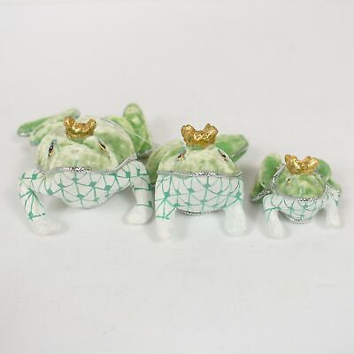 Katherine's Collection Set of 3 Green Velvet Prince King Frog Figurines New