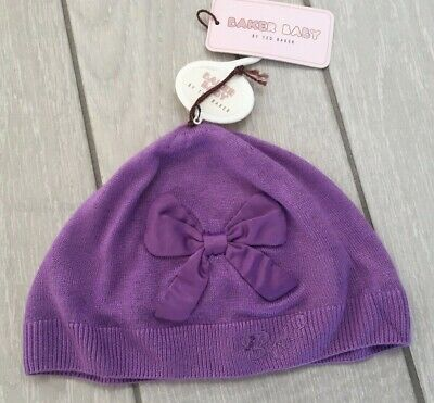 Baker Boy by Ted Baker Purple Satin Bow Hat - Size 6-12 Months