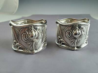 Pair Of Frank Whiting Art Nouveau Amelia Sterling Silver Napkin Rings