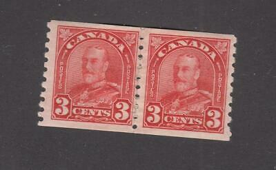 CANADA # 183 VF-MH PASTE UP PAIR KGV 3cts COILS CAT VALUE $80