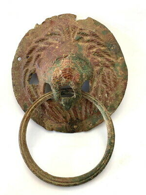 Ancient Roman Bronze Lion Head Door Knocker.