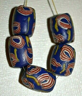 Antique Venetian Blue Lampwork Beads Red White Eyes Yellow Stripes African Trade