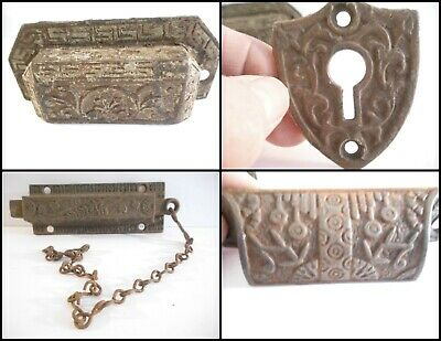 4 Antique CAST IRON Vintage EASTLAKE Victorian Drawer Pulls Handles Chain Bolt