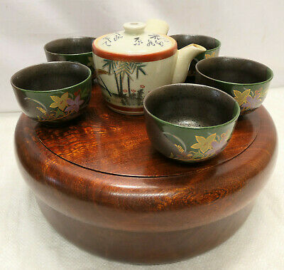 Vintage Tea Set Japanese Tea Ceremony Traditional in Wooden Round Box #90