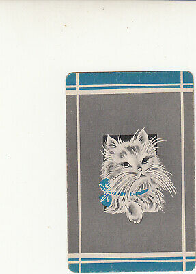 #238 1 vintage single playing swap card - Cute Cat - JS