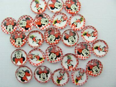 BB FLATBACKS glass dome 12mm cabochon pk of 20 MINNIE MOUSE RED 10 pairs