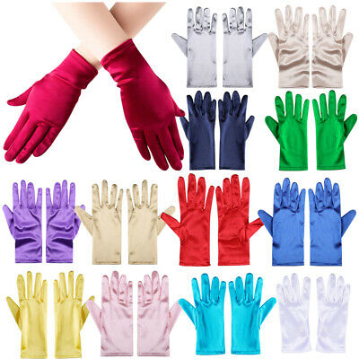 Ladies Short Wrist Gloves Smooth Satin For Party Dress Prom Evening Wedding Girl