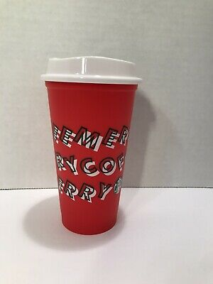 2019 Starbucks Reusable Red Cup Tumbler 11/7/19 Christmas Holiday 5 Cups w/Lids