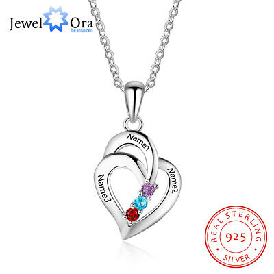 Personalized Name Necklace DIY Birthstone Pendant 925 Sterling Silver Chain