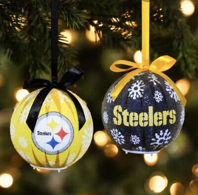 Pittsburgh Steelers Football NFL Set Of Two New LED Christmas Tree 🎄 Ornaments
