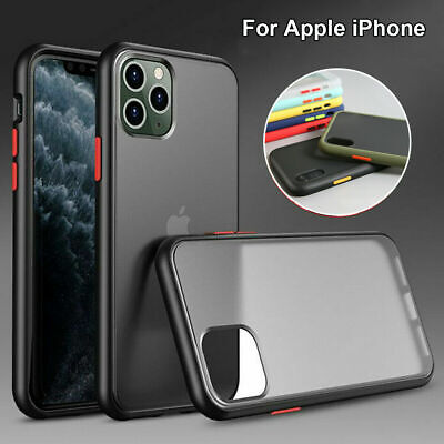 For iPhone 11 Pro Max XS XR 7 8 Shockproof Matte Translucent Silicone Case Cover