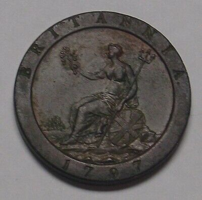 GB 1797 Catwheel One Penny, Proclamation era coin, Good Very Fine.