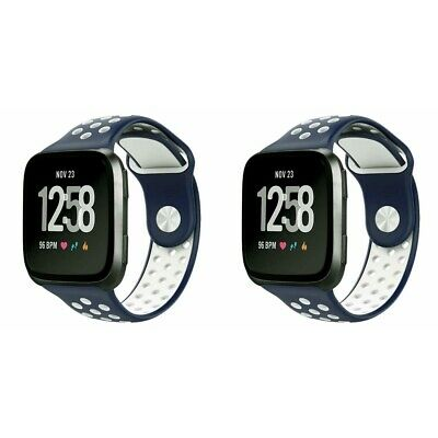 2-Pack For Fitbit Versa Strap Sport Breathable Silicon Replacement Watch Band