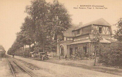 Reproduction photo d'une carte postale de la ligne vicinale à Beeringen