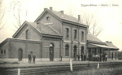 Reproduction photo d'une carte postale de la gare de Eygen-Bilsen