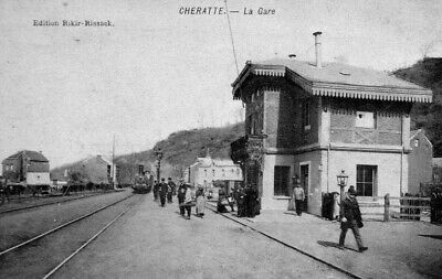 Reproduction photo d'une carte postale de la gare de Cheratte