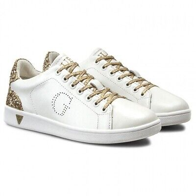 GUESS SNEAKERS DONNA Bianche Scarpe Basse Oro TG 38 EUR 40