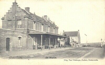 Reproduction photo d'une carte postale de la gare de Moortzeele