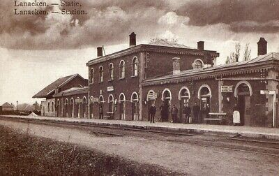 Reproduction photo d'une carte postale de la gare de Lanaeken