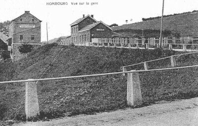 Reproduction photo de la carte postale de la gare de Hombourg