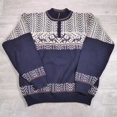 Mens Vintage NORWEGIAN Wool Fairisle Hippy Nordic Reindeer Jumper Large #E2345