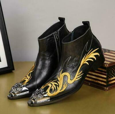 Mens Wedding Dress Metal Head Wing Tip Ankle Boot Dragon Embroidery Shoes Black