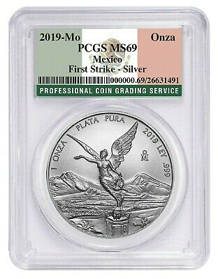 2019 Mexico 1oz Silver Onza Libertad PCGS MS69 - First Strike - Flag Label