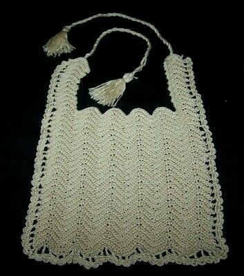 Vintage Hand Crocheted Baby Bib-Ecru Cotton-Large Doll-Home Made-Eat-Protector