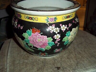 "VINTAGE GORGEOUS ORIENTAL CHINESE FLORAL PEACOCKS CACHEPOT PLANTER VASE 6.5""tall"