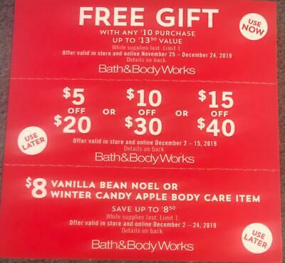 Bath & Body Works Coupons Gift With $10 and $5 $10 or $15 Off Expire Dec 15 & 24
