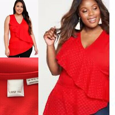 LOST INK Red Curve Top With Dobby Ruffle Sz 18 Sleeveless Bright Gorgeous