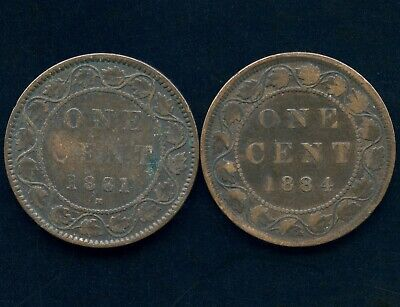 1881 'H' & 1884 Canada 1 Cent Coins