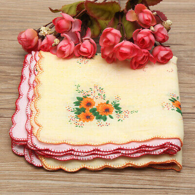 24/36Pcs 100% Cotton Flower Vintage Floral Handkerchiefs Hankies Lady Child  UK