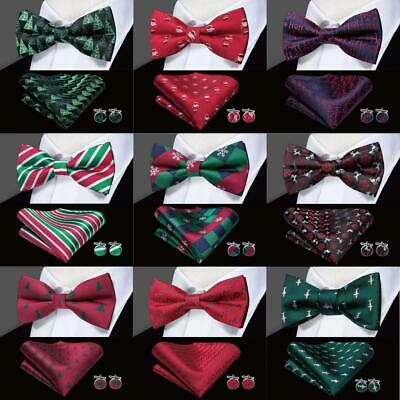 Christmas Bowtie Pre-Tied Men's Self Bow Tie Red Burgundy Green Black Blue Gold
