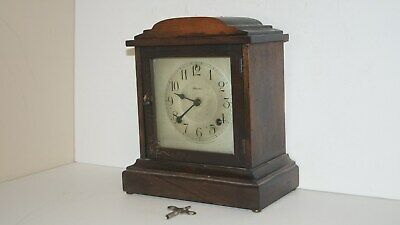 Beautiful Antique Wind Up Ansonia Usa Wood Mantel Chime Clock With Key